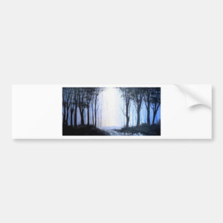 misty foggy forest bumper stickers