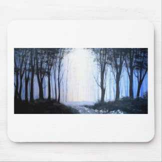 misty foggy forest mouse pad