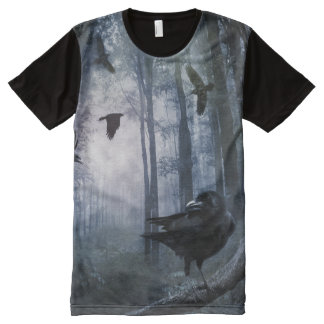 Misty Forest Crows All-Over Print T-shirt