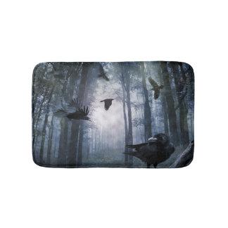 Misty Forest Crows Bath Mats