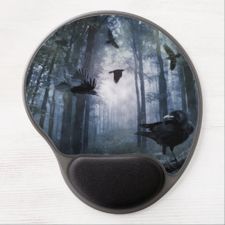 Misty Forest Crows Gel Mouse Pad