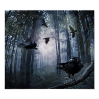 Misty Forest Crows Poster