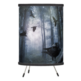 Misty Forest Crows Tripod Lamp