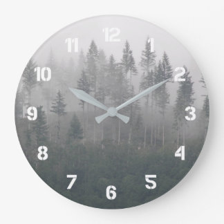 Misty Forest Photo Large Clock