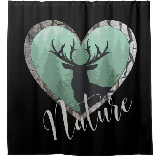 Misty Forest With Big Buck Deer Nature Shower Curtain