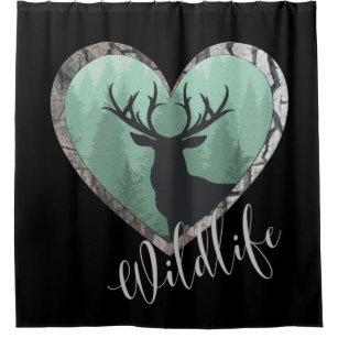 Misty Forest With Big Buck Deer Wildlife Shower Curtain