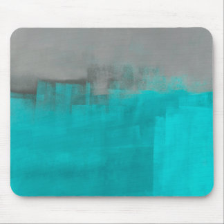 'Misty' Grey and Turquoise Abstract Art Mouse Pad
