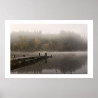 Misty Jetty - Loch Ard, Scotland Poster