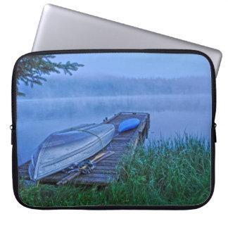 Misty Lake, Dock, Boat & Kayak Nature Scene Computer Sleeve