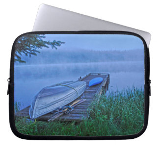 Misty Lake, Dock, Boat & Kayak Nature Scene Laptop Sleeve