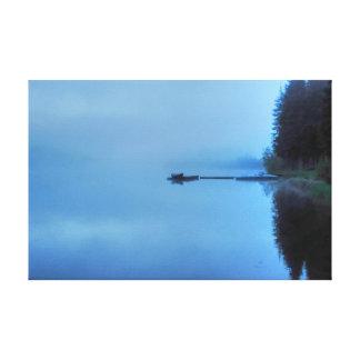 Misty Lake, Dock, Row Boat & Jet Boat Nature Scene Canvas Print