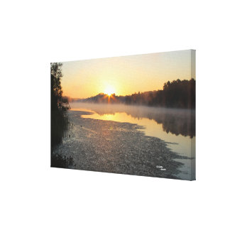 Misty lake morning Stretched Canvas Print