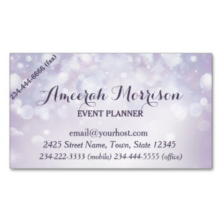 Misty Mauve Bokeh Event Magnetic Business Card