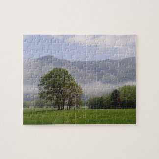 Misty meadow and Rich Mountain, Cades Cove, Jigsaw Puzzle