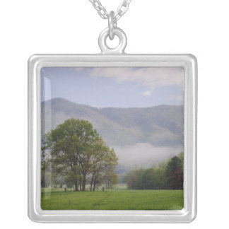 Misty meadow and Rich Mountain, Cades Cove, Silver Plated Necklace