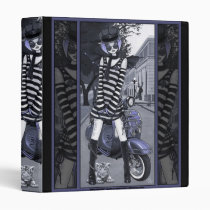 misty, scooter, moped, fairy, urban, cat, blue, city, fantasy, faery, faerie, Binder with custom graphic design