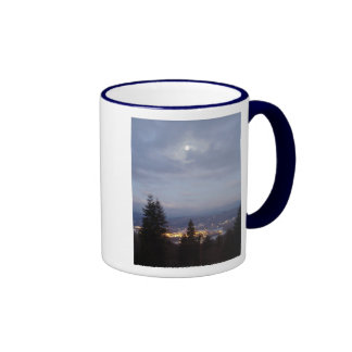 Misty Moon Over the Columbia River Coffee Mug