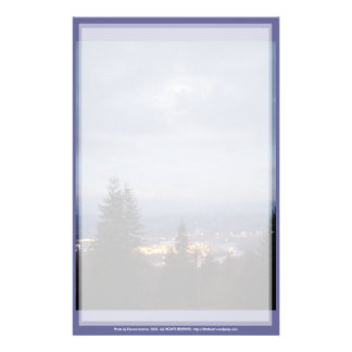 Misty Moon Over the Columbia River Stationery