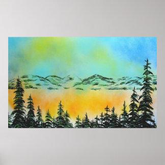 Misty Morning at Lake Tahoe Poster
