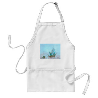 Misty Morning Harbor Boats Adult Apron