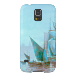 Misty Morning Harbor Boats Galaxy S5 Cover