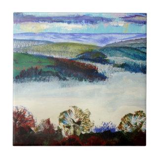 Misty Morning in Exe Valley Exeter Devon Tile