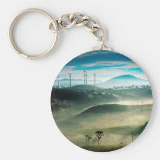 Misty morning landscape at wind farm key chain