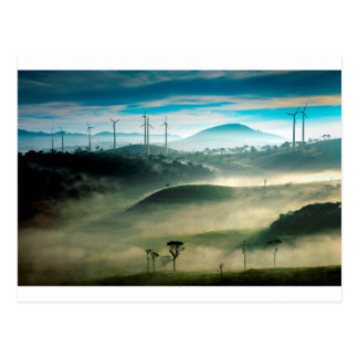 Misty morning landscape at wind farm postcard