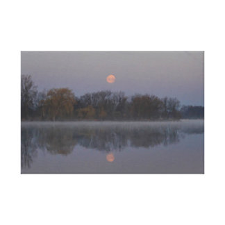 Misty Morning Moon Canvas Print