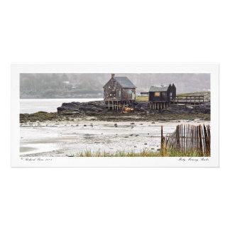 Misty Morning Shacks Photo Card