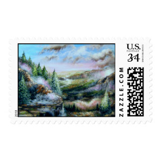Misty Mountain Scenery Postage Stamp