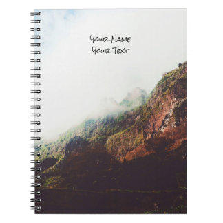 Misty Mountains, Relaxing Nature Landscape Scene Spiral Notebook