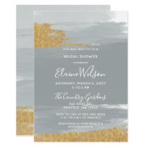 Misty Ocean Gilded Brush Strokes Bridal Shower Card