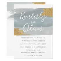 Misty Ocean Gilded Brush Strokes Wedding Card