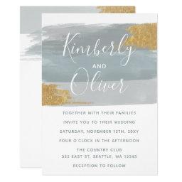 Dusty Blue Gilded Brush Strokes Wedding Invitations