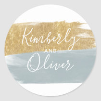 Misty Ocean Gilded Brush Strokes Wedding Classic Round Sticker