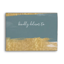 Misty Ocean Gilded Brush Strokes Wedding Envelope