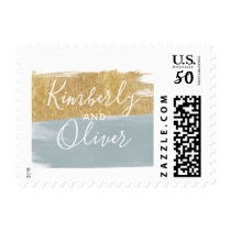 Misty Ocean Gilded Brush Strokes Wedding Postage