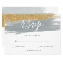 Misty Ocean Gilded Brush Strokes Wedding rsvp Card