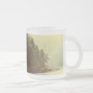 Misty Ocean Landscape at Dawn Frosted Glass Coffee Mug