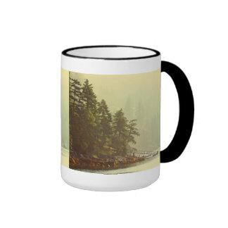 Misty Ocean Landscape at Dawn Ringer Mug