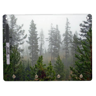 Misty Pine tree forest Dry Erase Board With Keychain Holder