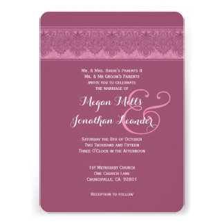 Misty Pink Damask Wedding Template V15 Custom Invites