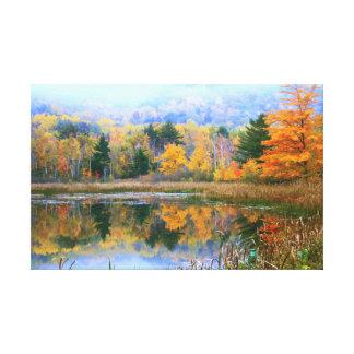 Misty Pond Autumn Landscape, Acadia National Park Gallery Wrap Canvas