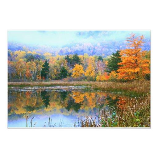Misty Pond Autumn Landscape, Acadia National Park Photographic Print