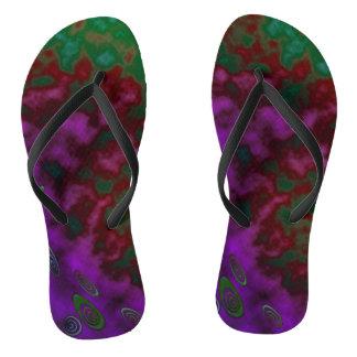 Misty Purple Green Flip Flops