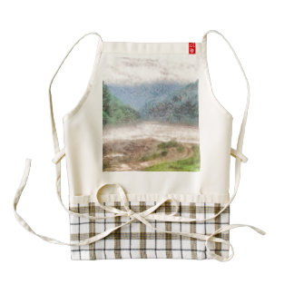 Misty river in the mountains zazzle HEART apron