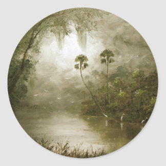Misty River Tranquility Classic Round Sticker