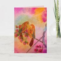 Misty Romantic Love Birds Holiday Card