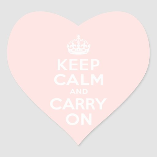 Misty Rose Keep Calm and Carry On Heart Sticker